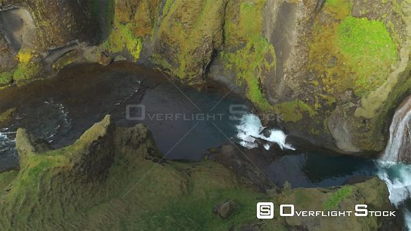 Colorful Volcanic River Canyon Waterfalls, Fjadragljufur Iceland Aerial Panning Shot