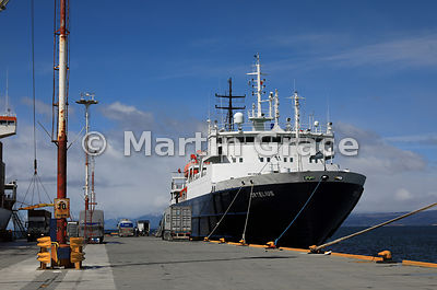 Cruise vessel Ortelius (Oceanwide Expeditions) tied up at Ushuaia, Tierra del Fuego, Argentina