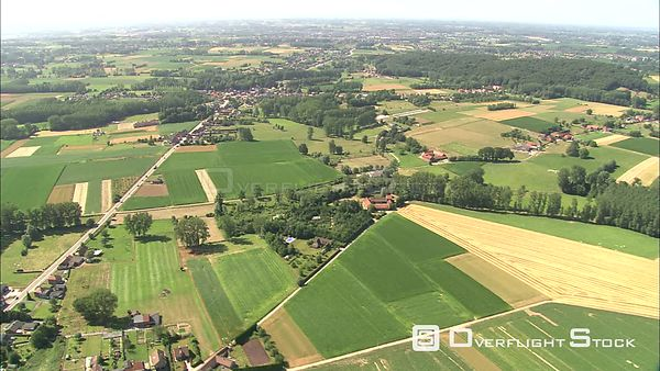 Flying over cropland and villages on the outskirts of Brussels