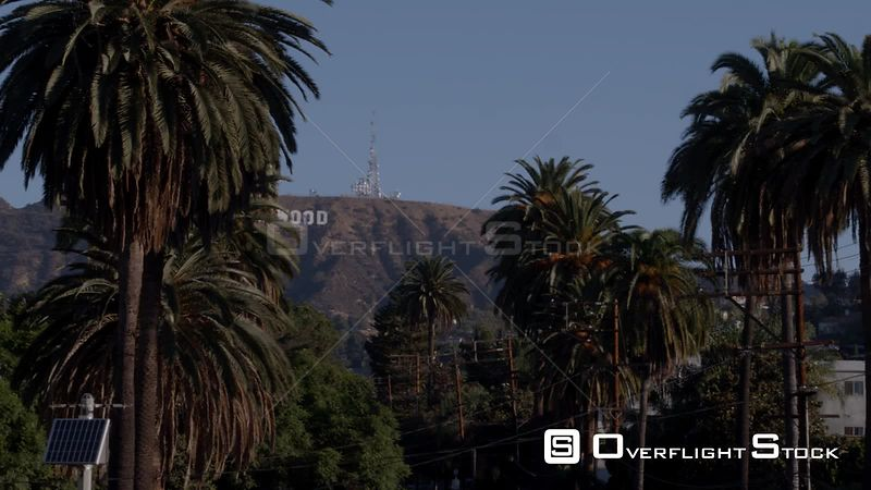 Telephoto aerial shot of Hollywood Sign from Beachwood Canyon, the neighborhood at the foot of the Hollywood Hills, Los Angeles