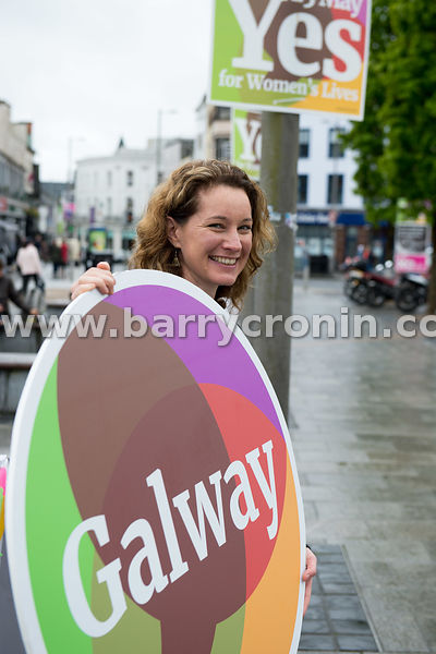 NO REPRO FEES - 15th May, 2018. Pictured at Eyre Square, Galway was Mary Colgan from Together for Yes.Orla O'Connor, Co-Direc...