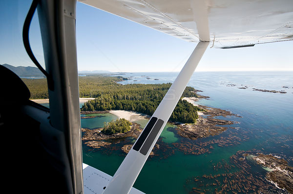 Aerial view out of float plane, of the Vancouver Island  coastline, Vancouver Island, British Columbia, Canada, July.