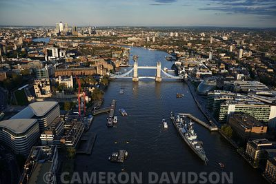 Low-level aerial photograph of the Thames River and Bridges in Central London