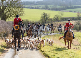Andrew Osborne, Chris Edwards at the meet. The Cottesmore Hunt at Newbold Farm 16/2
