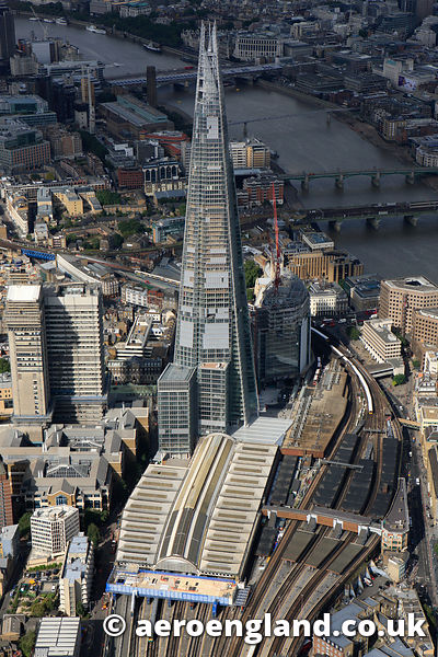 aerial photograph of the Shard London UK