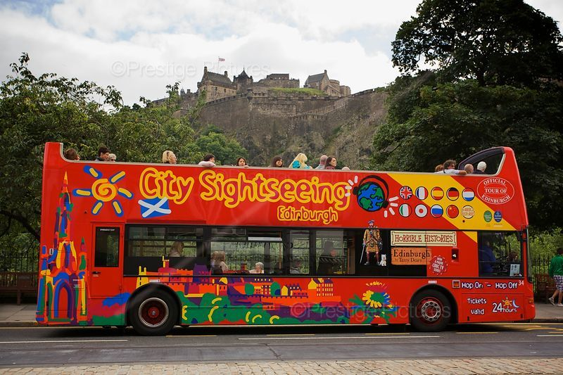 City Sightseeing Bus with Edinburgh Castle in the background