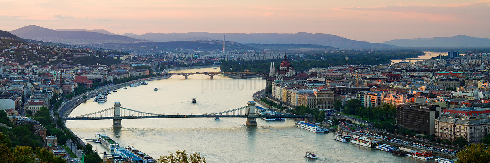 Budapest Skyline and the Danube River at Dusk