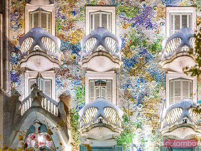 Windows of casa Batllo by Gaudi, Barcelona, Spain