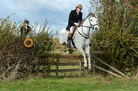 Jimmy Couldrey jumping a hedge near Little Dalby. Quorn Hunt Opening Meet 2018