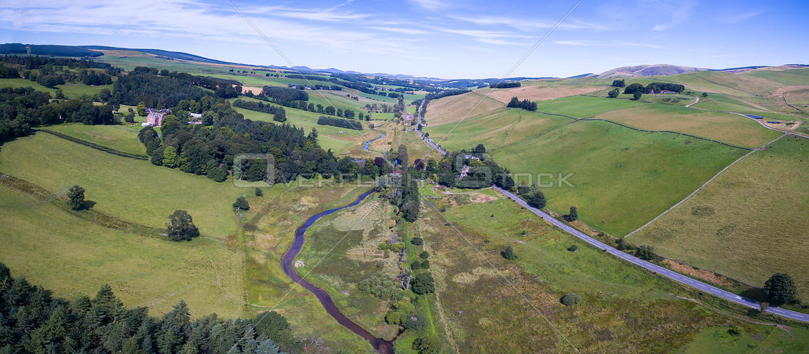 Aerial view of countryside where re-meandering of Eddleston Water has taken place to slow down water flow and reduce flooding.