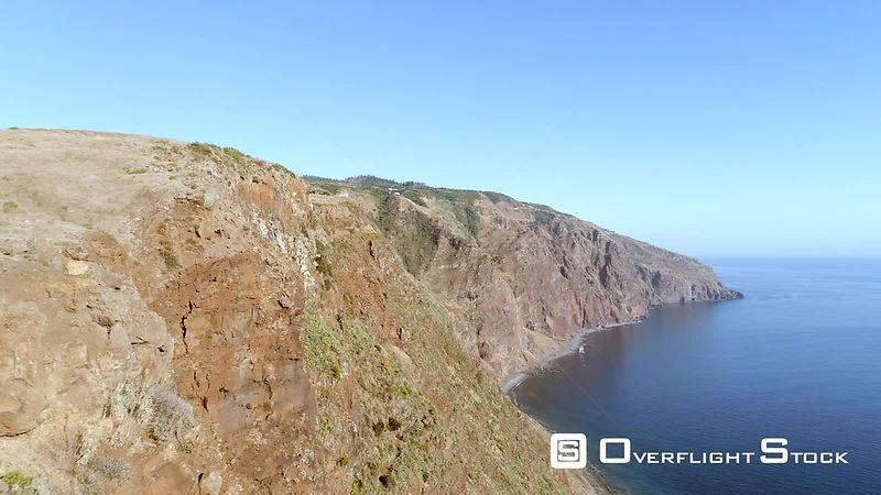 Cliff Shoreline of Madeira Island Drone Video Portugal