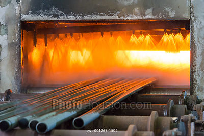 Stainless steel tubes in a bright annealing furnace