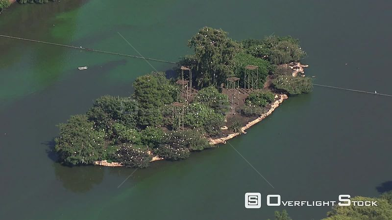 Aerial shot of a man made lake in Johannesburg Johannesburg Gauteng South Africa