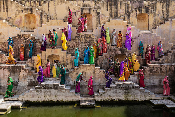 Hindu Women in Colorful Saris at the Amer Bawri