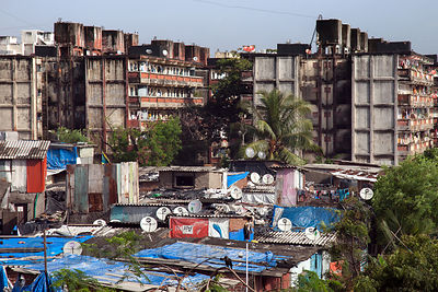General view of the Dharavi slum in Mumbai, India, known as the largest slum in Asia and made famous by the movie Slumdog Mil...