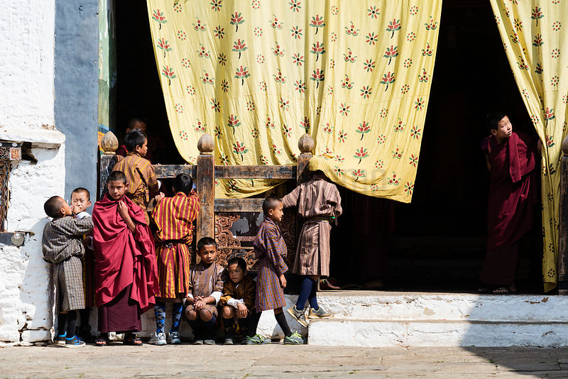 Spectators Wait for the Stasrt of the Masked Dance at Trongsa Domche