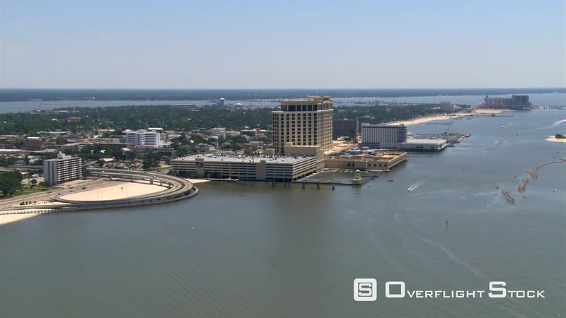 Flying along waterfront past Biloxi, Mississippi.
