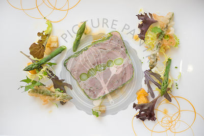 Ham terrine with asparagus.