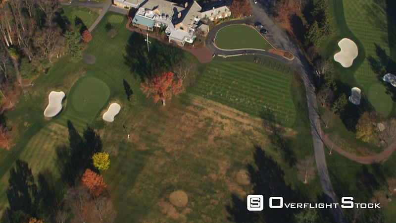 Flying over Burning Tree Golf Course and clubhouse in Bethesda, Maryland. Shot in November