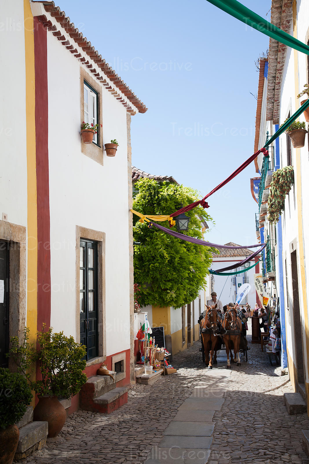 Horse-drawn carriage rides through the narrow streets of Obidos, Portugal