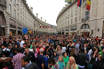 Crowds in Regent Street on Piccadilly Circus Circus Day in 2012