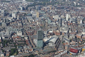 Central Manchester looking from Beetham Tower and the Manchester Central Convention Complex into the Business District of Spr...