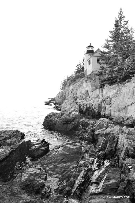 BASS HARBOR HEAD LIGHTHOUSE MAINE ACADIA NATIONAL PARK BLACK AND WHITE