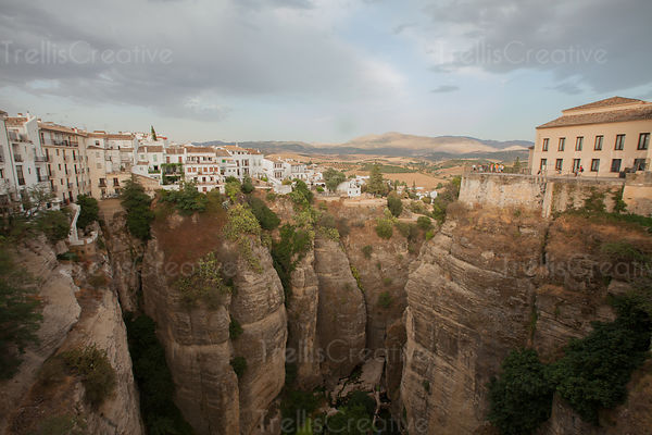 View of homes built on the mountain tops in Ronda, Spain