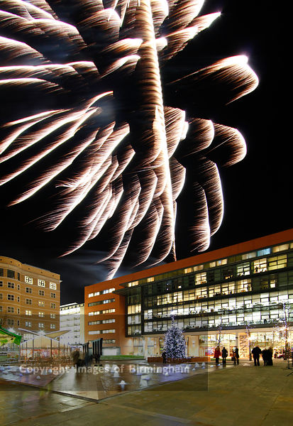 Central Square at Brindleyplace at Christmas.  Fireworks over the square.