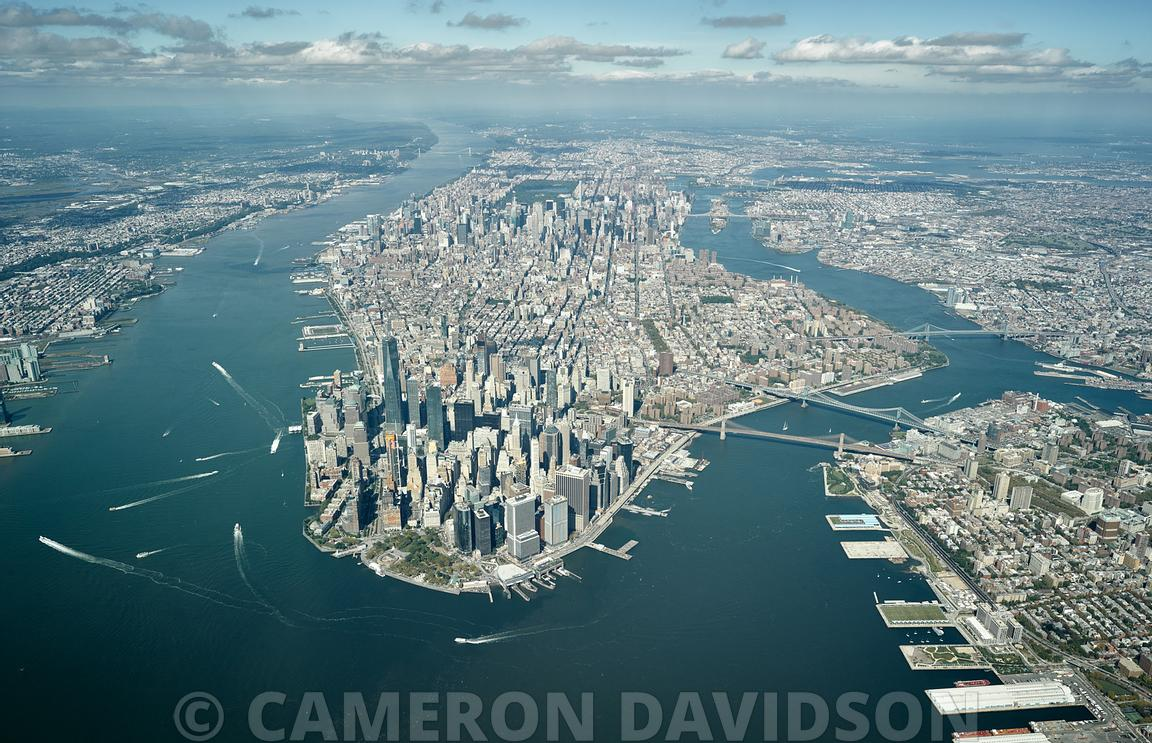 Aerial of Manhattan Island from a high altitude