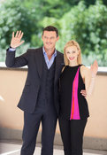 Luke Evans and Sarah Gadon at a photocall in Rome for Dracula Untold.