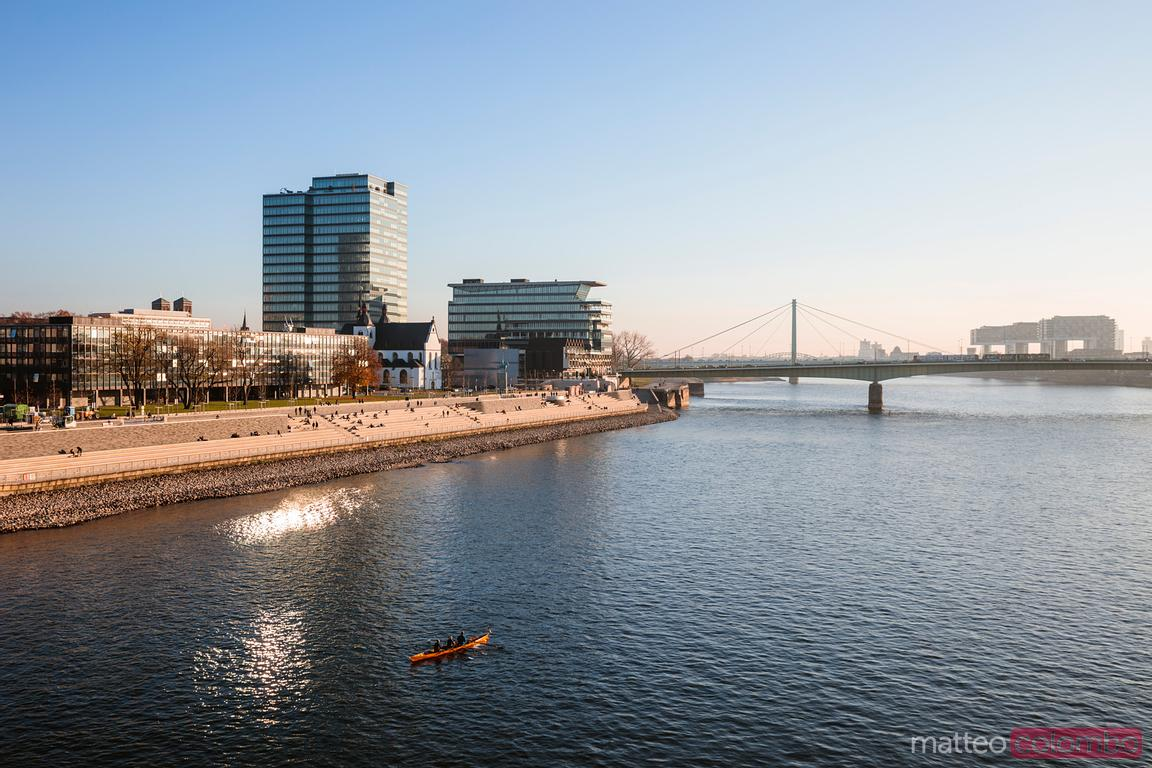 Deutz Bridge and riverbank on the Rhine, Cologne, Germany
