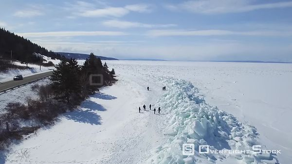 Ice Sheet Buildups on Shore Cape Breton Island Nova Scotia