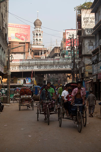 Bangladesh - Dhaka - A lane full of rickshaws and traffic