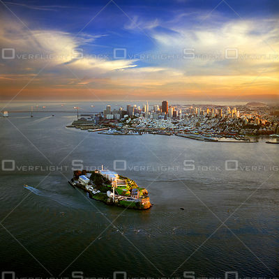 Dowtown San Francisco SkylineFrom Alcatraz at Sunset. California.