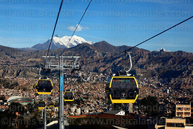 Yellow Line cable car gondolas descending to Obrajes, Mt Illimani in background, La Paz, Bolivia