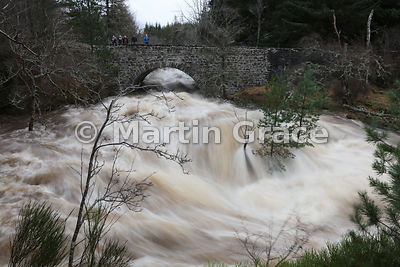 River Tromie in spate at Tromie Bridge, Highland, on Wednesday December 30 2015