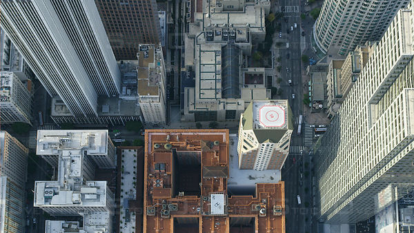 Aerial Vertical view of downtown Los Angeles, CA, USA
