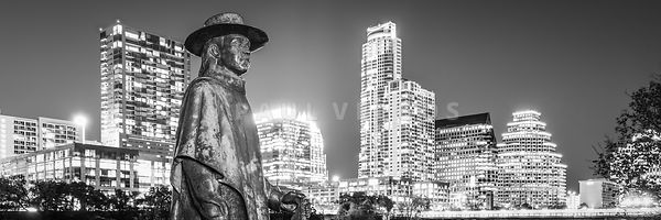 SRV Statue and Austin Skyline Black and White Panorama
