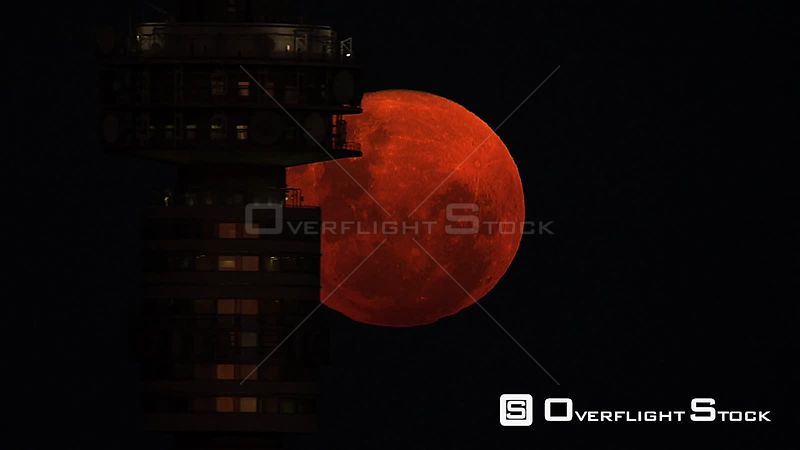 Aerial shot of the moon behind the Hillbrow Tower Johannesburg Gauteng South Africa