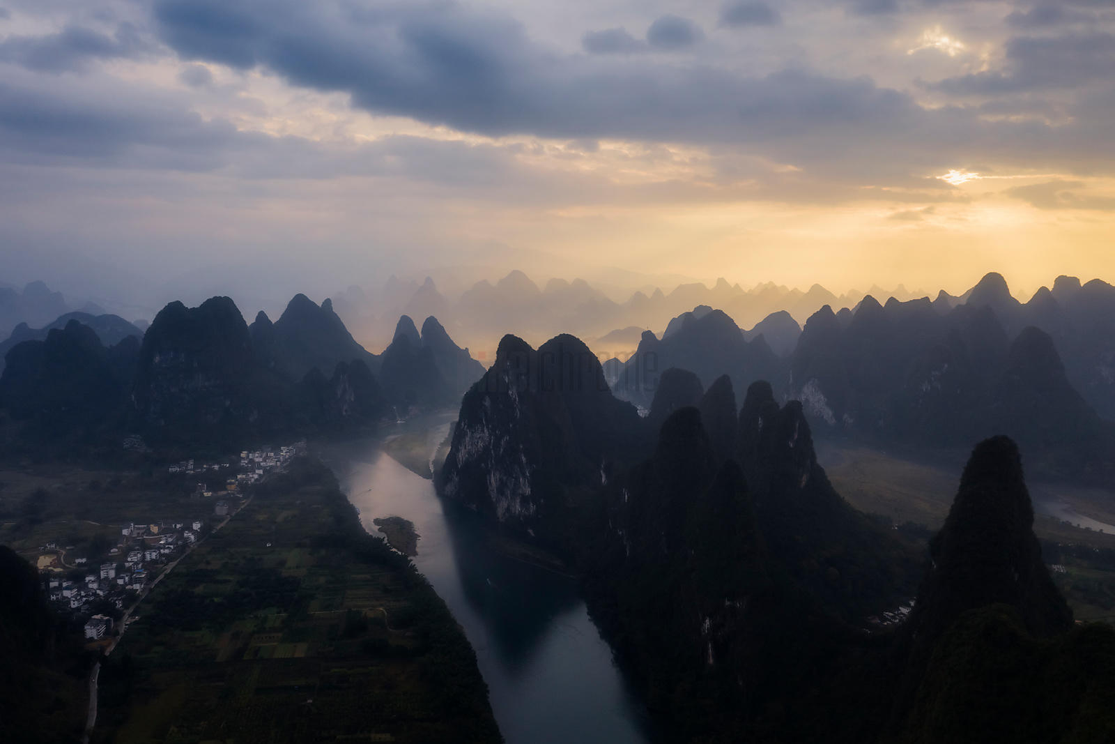 Elevated View of the Karst Mountains and the Li River