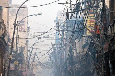 Tangled utility wires in the Chandi Chowk area of Old Delhi, India