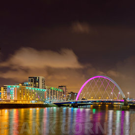 GLASGOW, SCOTLAND - NOVEMBER 27, 2015: The Clyde  Arc Bridge on the river Clyde in Glasgow at night.