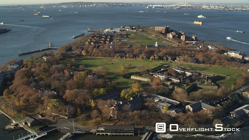 Flying by Governors Island in New York Harbor.