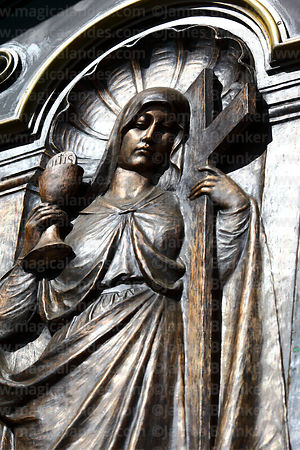 Detail of bronze figure of Virgin Mary on side entrance of cathedral, La Paz, Bolivia