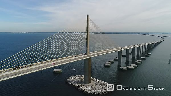 Drone Video of the Bob Graham Sunshine Skyway Bridge St. Petersburg Florida