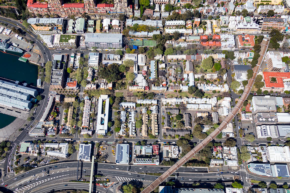 Aerial Stock Image - Woolloomooloo Street map on
