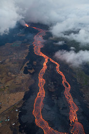Aerial view of a river of lava, from Kilauea Volcano erupting from  fissure 8, Leilani Estates, Pahoa. Puna District, Hawaii....