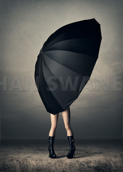 Woman with huge umbrella