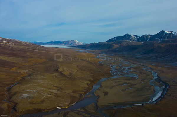 Aerial view of tundra landscape, Ellesmere Island, Nunavut, Canada, June 2008. Taken on location for BBC series, Frozen Plane...